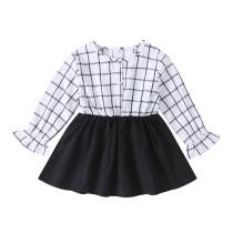 Kids Girl Бело-черное платье в клетку