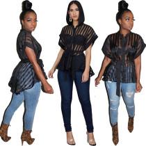 Camisa de rayas transparentes sexy negro con cinturón