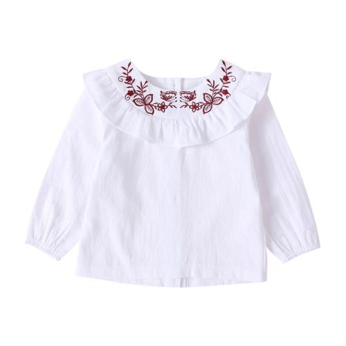 Kids Girl White Rüschen Shirt