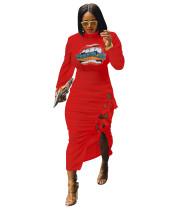 Print Lace Up Irregular Midi Dress