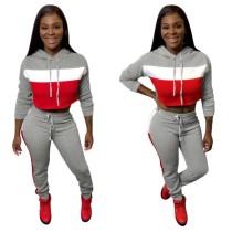 Kontrast Long Sleeves Hoody Crop Toa und Hosen