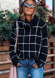 Turndown Collar Plaid Slit Sweater