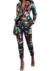 Print Colorful African Autumn Blazer and Pants Set