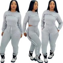 Conjunto de pantalones y top corto ajustado de lentejuelas de otoño