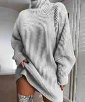 Vestido de suéter suelto de cuello alto transparente