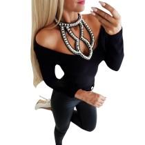 Camicia basic allacciata con perline sexy