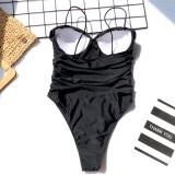 Sexy One Piece Straps Ruched Plain Swimwear