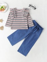 Kindermeisje strepen shirt en effen broek