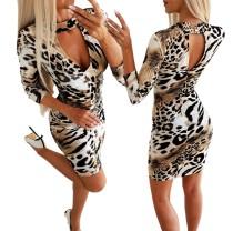 Sexy ausgeschnittenes Leoparden Partykleid