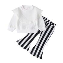 Kindermeisje wit en zwart Bell Bottom broek Set