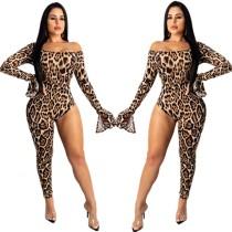 Сексуальный комбинезон с леопардовым принтом с открытыми плечами