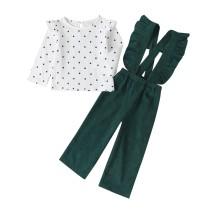 Conjunto de pantalones de babero con volantes para niña