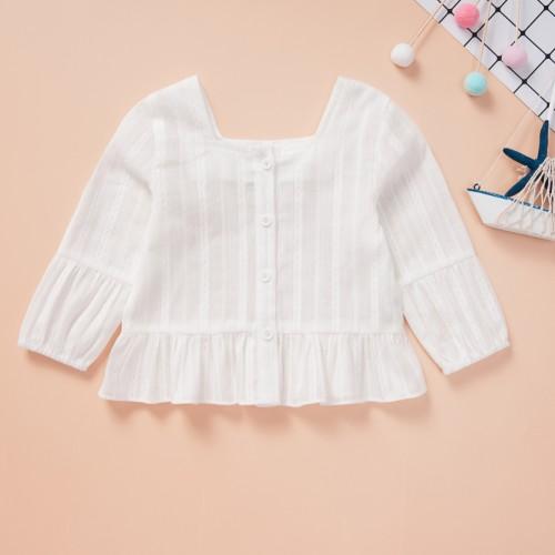 Kids Girl White Rüschen Vintage Shirt