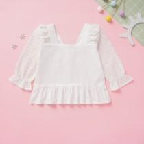 Camisa Vintage Niña Niña Ruffles Blanco