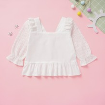 Kids Girl White Rüschen Vintage Shirt