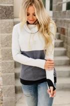 Contrasterend sweatshirt met hoge hals