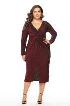 Plus Size Langarm Shiny Midi Kleid