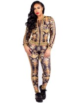 African Print Tight Jacket and Pants Suit
