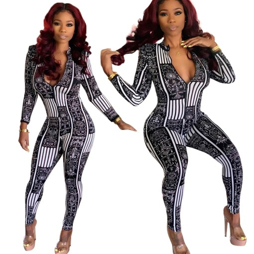 White and Black Print Long Sleeve Bodycon Jumpsuit