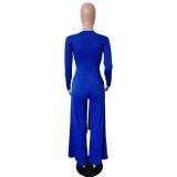 Сплошной цвет с длинными рукавами узел укороченный топ и брюки костюм