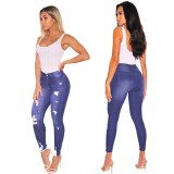 Jeans strappati sexy attillati azzurri