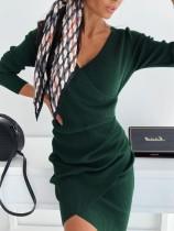 Einfarbig geraffte stricken Wickelkleid
