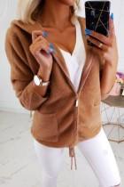Effen kleur pluche hooded hoodie met rits