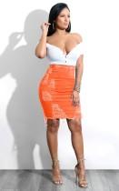 Falda de mezclilla rasgada con cintura alta sexy