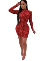 Sexy Leopard Long Sleeves Bodycon Dress