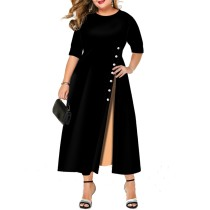 Plus Size Kontrast Patchwork langes Kleid