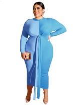 Plus Size Kontrast Knot Midi-Kleid