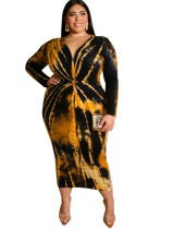 Plus Size Batik-Midikleid mit V-Ausschnitt