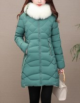 Long manteau col de fourrure rembourré