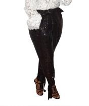 Pantalon taille haute noir à sequins