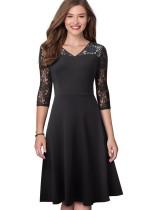Black Lace V-Neck Vintage Skater Dress with 3/4 Sleeves