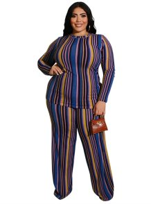 Plus Size Stripes Pants Set