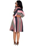Wide Stripes Colorful Office A-Line Dress