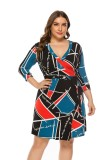 Plus Size Colorful Wrap Dress