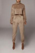 Conjunto de calça e blusa de veludo sólido de mangas compridas