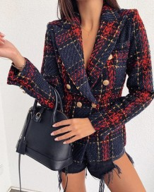 Red and Blue Plaid Winter Blazer