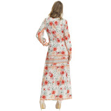 Print Ethnic Floral Maxi Dress with Full Sleeves