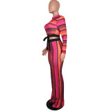 Wide Stripes Colorful Knot Top and Pants Set