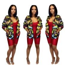 Camou Print Long Sleeve Jacket with Pocket