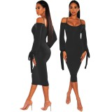 Sexy Straps Long Sleeve Midi Dress