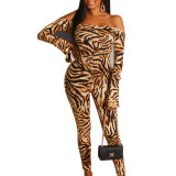 Sexy Backless Strapless Leopard Bodycon Jumpsuit