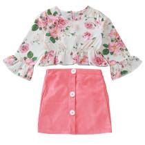 Conjunto de camisa floral y falda sólida para niña