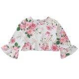Kids Girl Floral Shirt and Solid Skirt Set