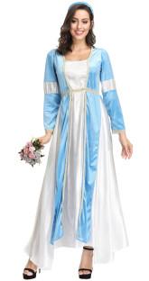 Бело-синий длинный костюм принцессы