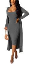 Effen effen midi-jurk met bijpassende lange vesten