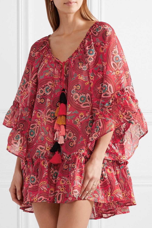 Tukku punainen boheemi lyhyt löysä mekko   Globaali rakastaja